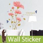 ウォールステッカー [ピンクの花と青い蝶 英文字(VINTAGE)]-(wch-102)