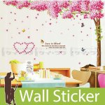 ウォールステッカー [満開のピンクの花が咲く木]-(wch-127)