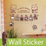 ウォールステッカー [写真フレームと可愛い猫]-(wch-144)