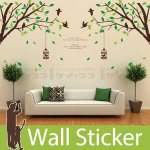 ウォールステッカー [木の枝と鳥かご]-(wch-149)