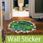 床用トリックアート ウォールステッカー [池の鯉]-(wch-169)