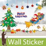 クリスマス飾り用のウォールステッカー [クリスマスツリーとサンタクロース]-(wch-172)