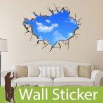 トリックアート ウォールステッカー [穴が開いた壁から見える空]-(wch-177)