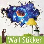 トリックアート ウォールステッカー [穴が開いた壁から見える宇宙]-(wch-178)