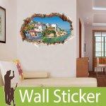 トリックアート ウォールステッカー [穴が開いた壁から見える街並み]-(wch-179)