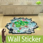 床用トリックアート ウォールステッカー [池で泳ぐ魚たち]-(wch-181)