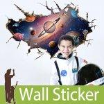 トリックアート ウォールステッカー [穴が開いた壁から見える惑星]-(wch-182)