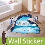 床用トリックアート ウォールステッカー [ペンギンと極地点]-(wch-193)