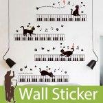 ウォールステッカー [鍵盤と猫]-(wch-204)