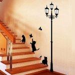 ウォールステッカー [街灯の下で遊ぶ猫]-(wds-009)