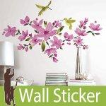 ウォールステッカー RoomMates 花 鳥 [ピンク フロウィングヴァイン]-(wja-083)
