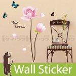 ウォールステッカー [ピンクの花と蝶]-(wss-006)