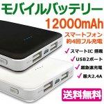 モバイルバッテリー 12000mAh 全2色