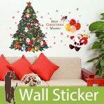 ウォールステッカー [クリスマスツリーとサンタクロース]-(wch-231)