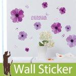 ウォールステッカー [紫の花と蝶]-(wch-252)