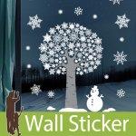 ウォールステッカー クリスマス ガラス 飾り-(fdx-2105)