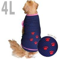 犬服 いぬ服 ドッグタンクトップ バロン(紺水玉・切替タイプ) 肉球刺繍【4Lサイズ(超大型犬)】日本製 メール便送料無料