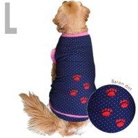 犬服 いぬ服 ドッグタンクトップ バロン(紺水玉・切替タイプ)  【Lサイズ(中型犬)】メール便送料無料