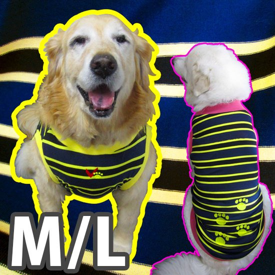 ドッグタンクトップ 紺×黄ボーダー(肉球刺繍入り) 【M/Lサイズ(中型犬)】