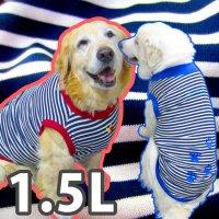 ドッグタンクトップ 紺×白ボーダー(肉球刺繍入り) 【1.5Lサイズ(大型犬)】