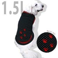犬服 いぬ服 ドッグタンクトップ バロン(黒水玉・切替タイプ)  【1.5Lサイズ(大型犬)】メール便送料無料