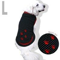 犬服 いぬ服 ドッグタンクトップ バロン(黒水玉・切替タイプ)  【Lサイズ(中型犬)】メール便送料無料