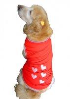 犬服 ドッグタンクトップ COOL鹿の子 ハート×5 【Mサイズ(中型犬)】 メール便送料無料