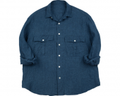 <img class='new_mark_img1' src='//img.shop-pro.jp/img/new/icons50.gif' style='border:none;display:inline;margin:0px;padding:0px;width:auto;' />[PORTER CLASSIC] ROLL UP LINEN STRIPE SHIRT