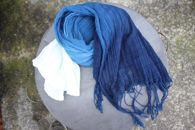 インド藍染 グラデーション綿のフリンジストール