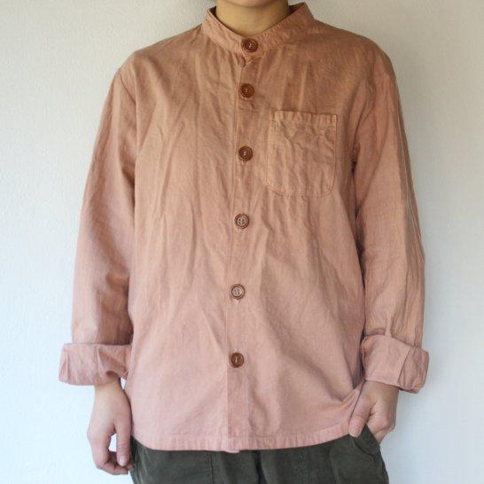 バンドカラーのオックスフォードシャツ《桜鼠色》