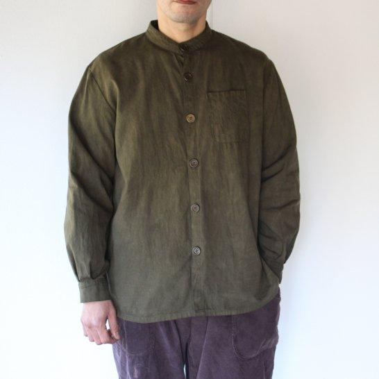 バンドカラーのオックスフォードシャツ《海松色》