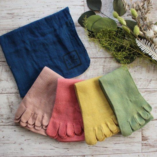 綿の5本指靴下と藍染ハンカチ【春色ギフトセット】