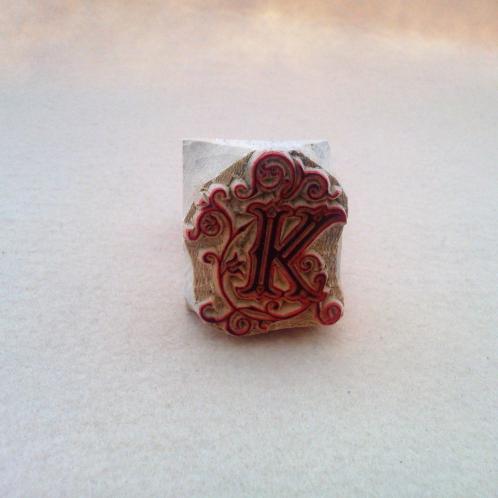木製手彫りスタンプ アルファベット「K」
