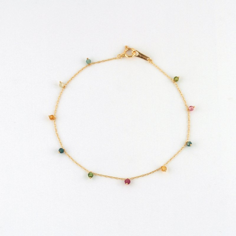 Tourmaline multicolor Beads Bracelet K18