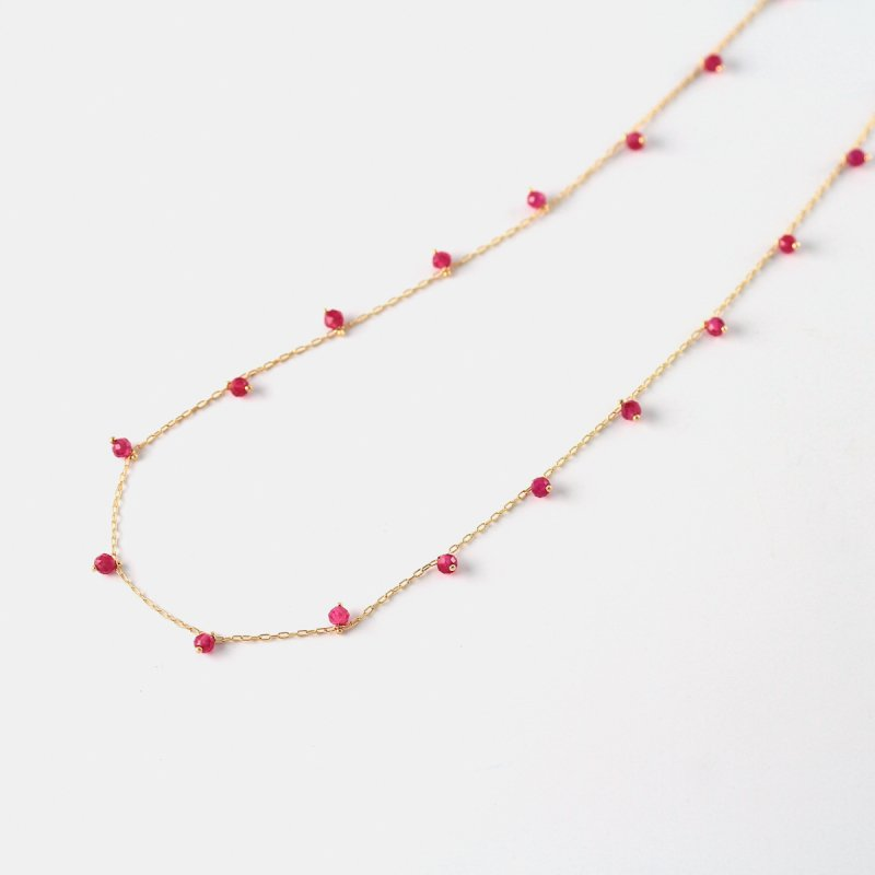 Ruby Beads Necklace K18