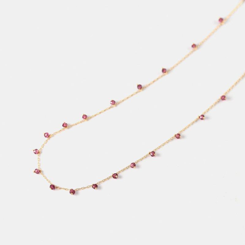 Rhodolite Beads Necklace K18