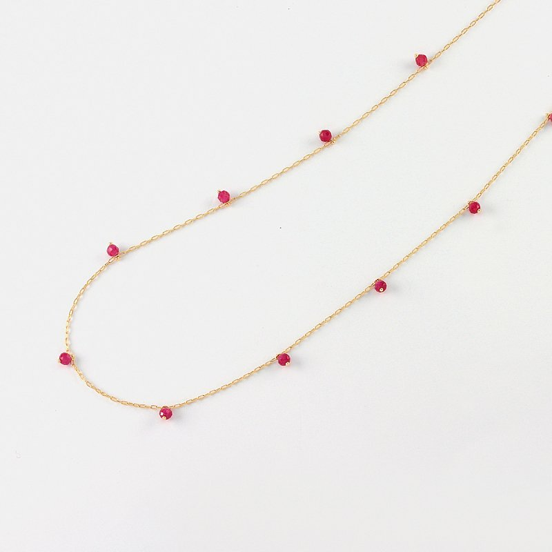 Ruby Beads Necklace K18 /TypeB