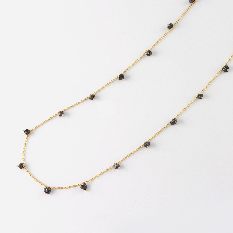 Rough black diamond Beads Necklace K18