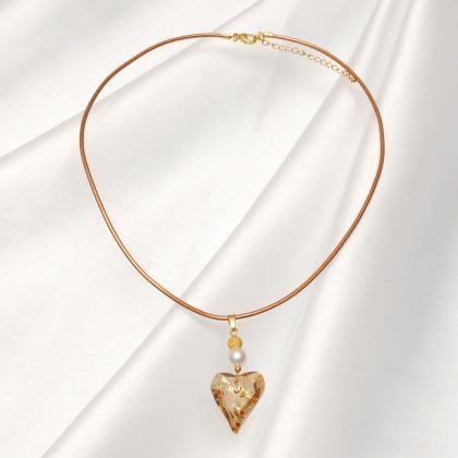 きらめきハートスワロ本真珠ネックレス