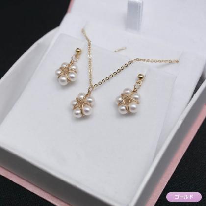 淡水真珠のスターパールネックレス&ピアス(イヤリング)セット(ケース付き)