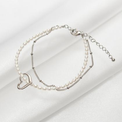 淡水真珠のハート2連パールブレスレット