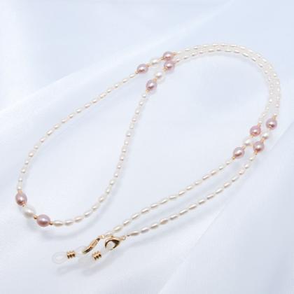 ネックレスにもなる淡水真珠のメガネチェーン