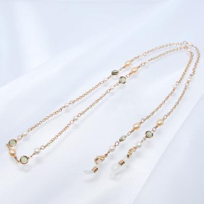 ネックレスにもなるモスグリーンのシャネルストーンと淡水真珠のメガネチェーン