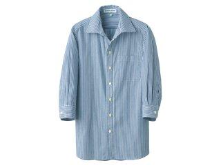 7分袖 スキッパーカラー シャツ 男女兼用
