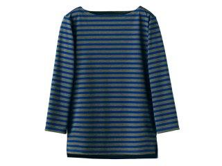 七分袖丈 ボーダーネックTシャツ 男女兼用