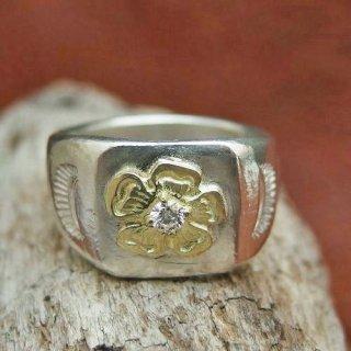 金ローズダイヤモンド印台リングの画像