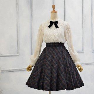 バイアスチェックのフレアースカート_55cm&60cm丈