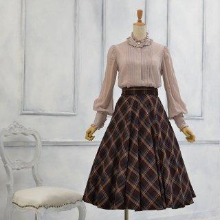 バイアスチェックのフレアースカート_72cm丈
