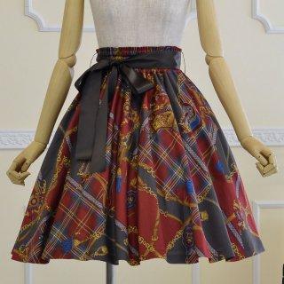 スカーフ柄プリントのバイアススカート
