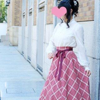 レトロチェックのバイアススカート